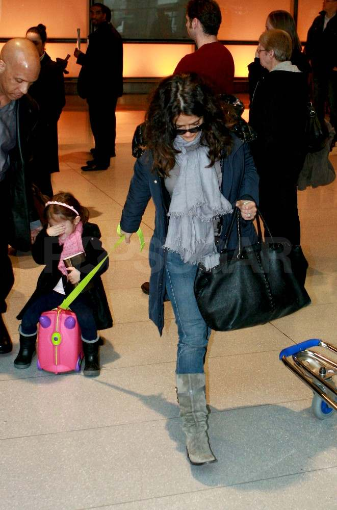 Salma Hayek and Valentina Ride Into Boston to Get to Work
