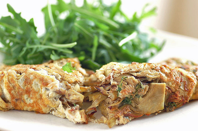Artichoke Omelet With Anchovies and Thyme