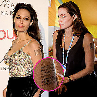 Pictures of Angelina Jolie's Arm Tattoo With 7th Coordinate Line