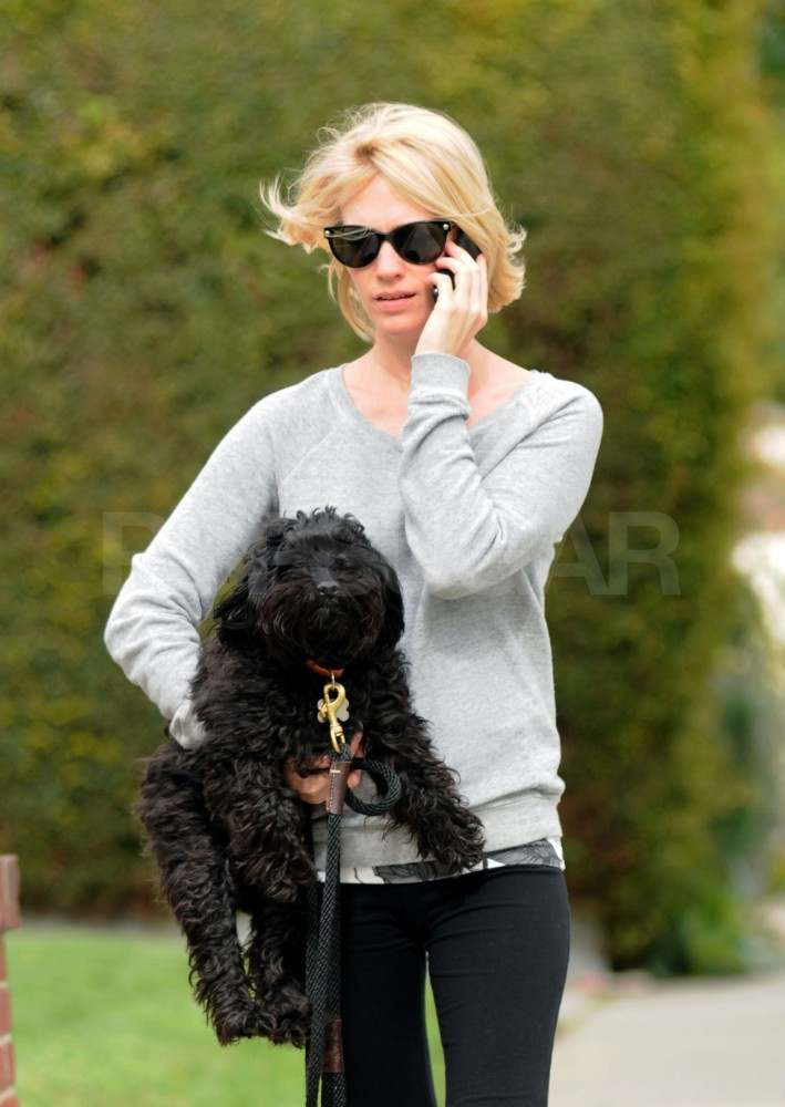 January Jones Carries Her Cute Pup and Preps For Her Summer Release