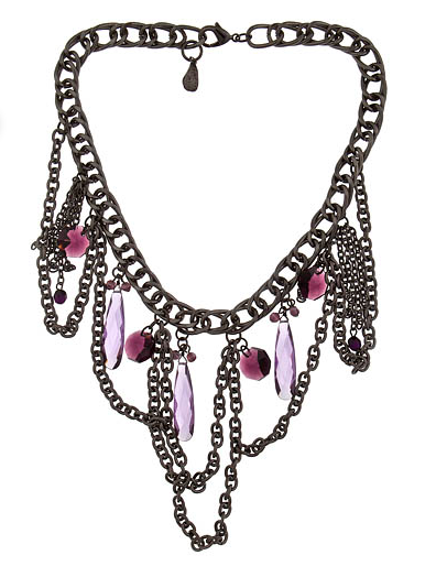 The dangly chains and purple cubic zirconia are punkish cool on this Yochi necklace ($108).