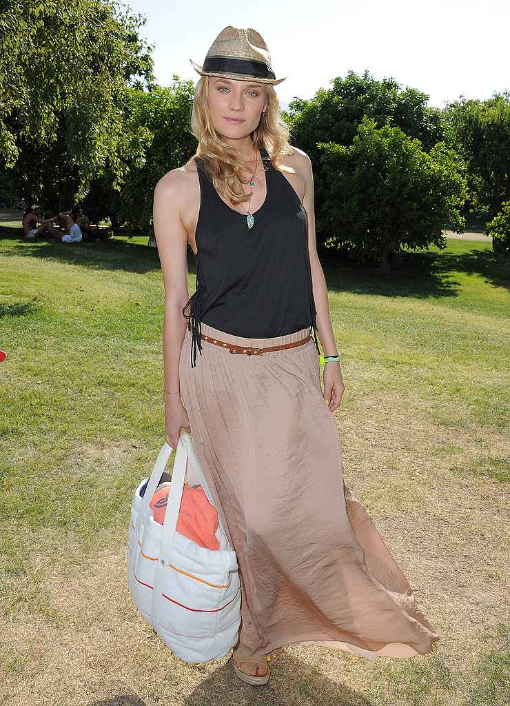 Diane Kruger headed to Lacoste's party in a breezy maxi and tank.