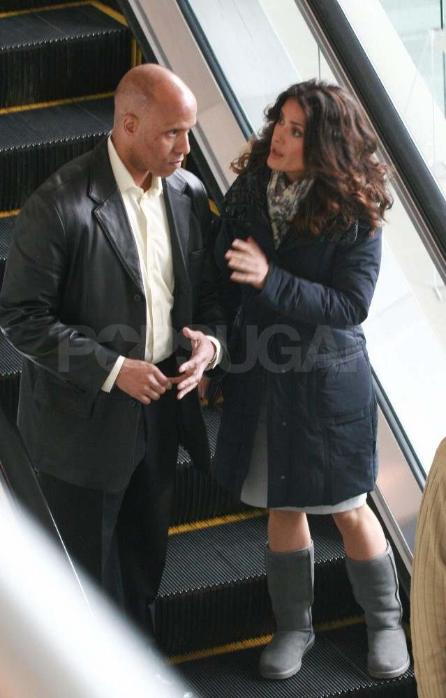 Salma Hayek Makes a Sexy Appearance on Set