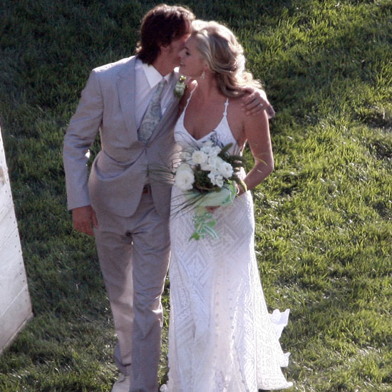 Rebecca Romijn and Jerry O'Connell tied the knot at their Calabasas home in July 2007.