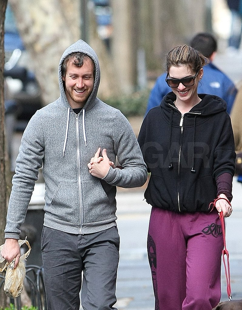 Anne Hathaway and Her Boyfriend, Adam Shulman, Sweat It Out on a Sunday Stroll