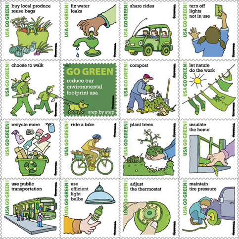 US Postal Service Go Green Stamps