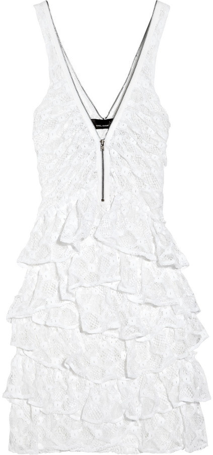 Isabel Marant Danel Zip-Trimmed Crocheted Lace Mini Dress ($825)