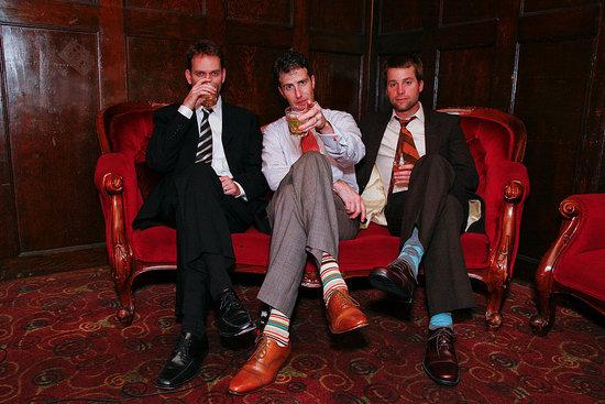 "Dapper dudes Matt, Adam, and Steven putting the ""party"" in wedding party."