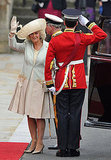 Camilla, Duchess of Cornwall, in Anna Valentine dress and coat, Philip Treacy hat, and Jimmy Choo shoes