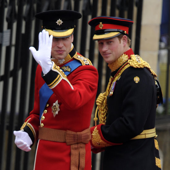 "Prince William arrived at Westminster Abbey with Prince Harry. After chatting outside William turned to Harry and said, ""Come on inside"" and Harry replied, ""Sure, everyone has arrived."""