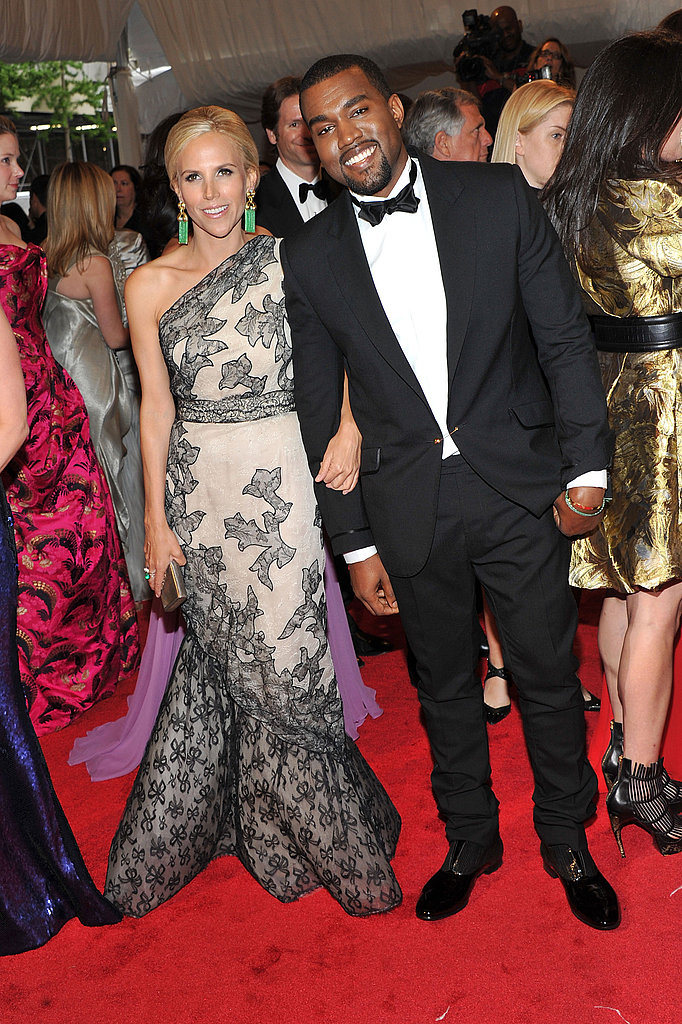 Tory Burch in vintage Jean Patou, with Kanye West in her design