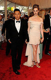 Prabal Gurung and Elettra Wiedemann Rossellini, in her grandmother Ingrid Bergman's dress that Gurung modified