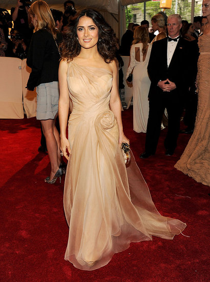 Salma Hayek's Nude Alexander McQueen Is Simply Beautiful at Met Gala