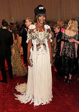 Naomi Campbell hit the red carpet in one of McQueen's most elaborate confections.