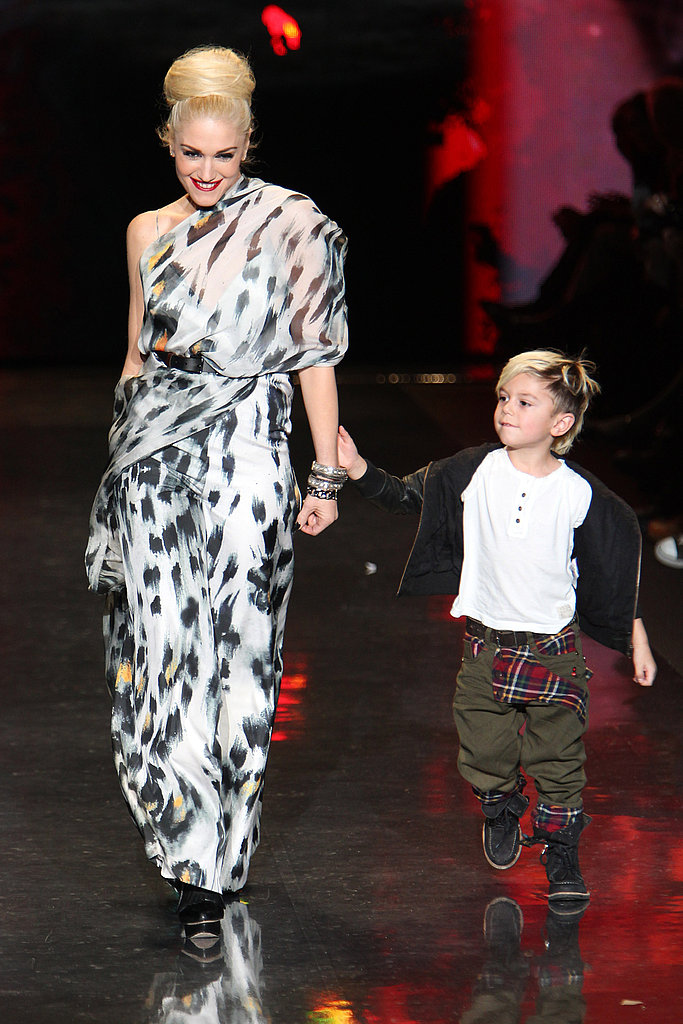 Gwen Stefani on the runway with eldest son Kingston.