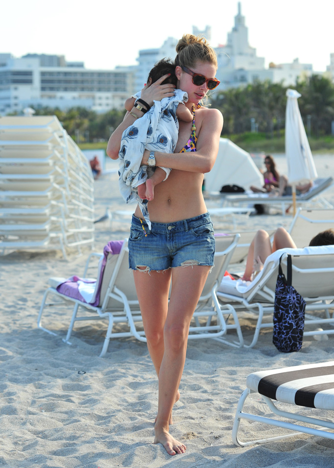 Doutzen Kroes with baby son Phyllon.