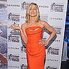 Jennifer Aniston Wearing Orange Strapless Dress