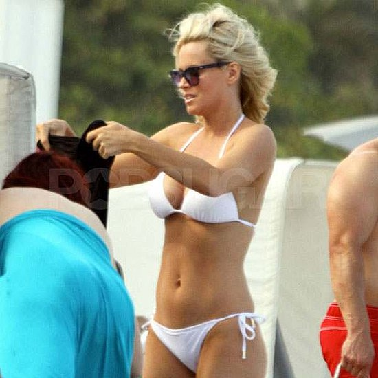 Jenny McCarthy Hits the Beach in a Tiny White Bikini