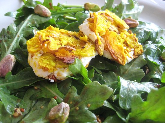 Golden Beet Chip-Encrusted Goat Cheese Salad