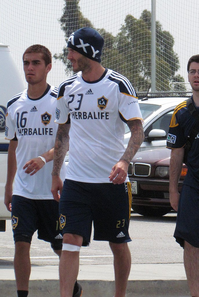 David Beckham Fits In a Practice Prior to a Home Game