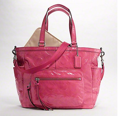 Coach Embossed Op Art Patent Baby Bag ($400)