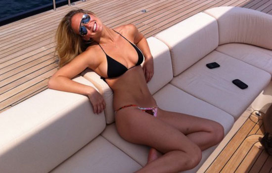Bar Refaeli tweeted a photo of herself in a bikini from Cannes in May 2011. Source: Twitter user BarRefaeli