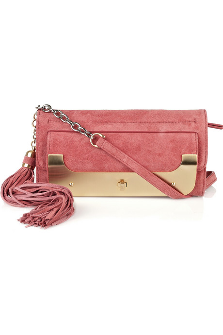 We love the oversized tassel and gold hardware.   Diane von Furstenberg Suede Tassel Clutch ($225, originally $450)