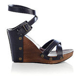 See by Chloe Navy Wood Wedge, Jildor, $260