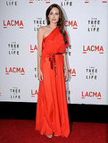 Angelina went for a more casual chic look in a red Jenny Packham gown at the LA Premiere of The Tree of Life.