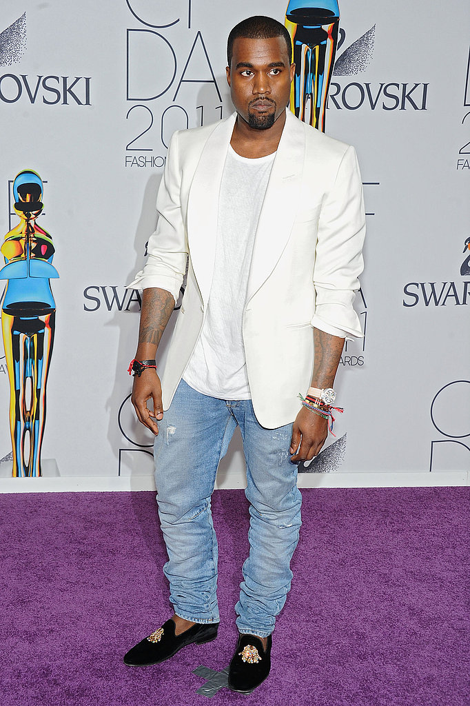 Kanye West in Balmain jeans and custom Giuseppe Zanotti loafers