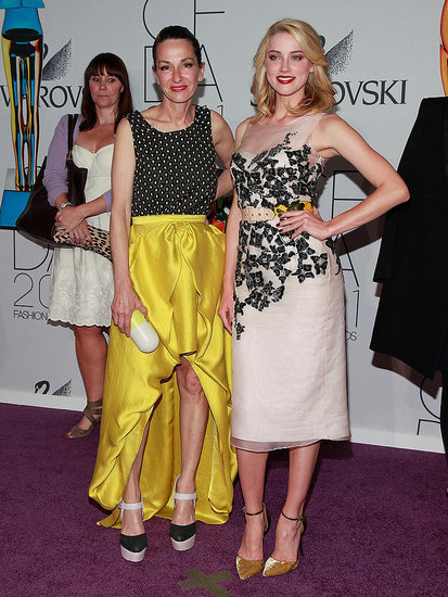 Cynthia Rowley with Amber Heard in her design