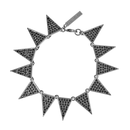 Eddie Borgo Gunmetal-plated Crystal Triangle Necklace, $275
