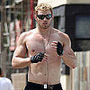 Pictures of Shirtless Kellan Lutz Running by the Beach
