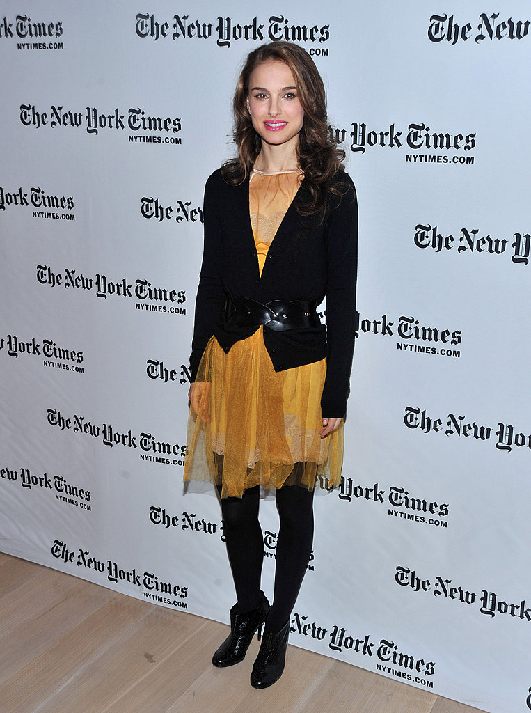 Natalie Portman in a Yellow Chiffon Dress at a 2009 New York Times Event