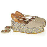 Chloé Leather and Canvas Platform Espadrilles, $450
