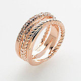 Rose Goldtone Cubic Zirconia Crisscross Ring, $16