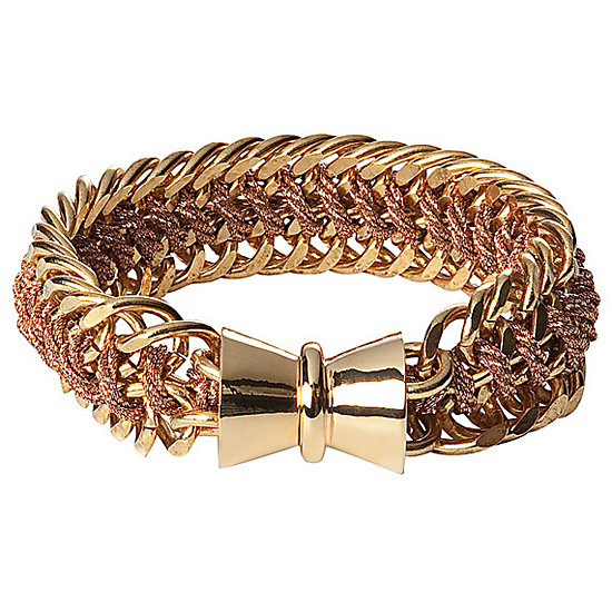 Bex Rox Rose Gold Cord with Gold Plated Cord Chain Bracelet, $240