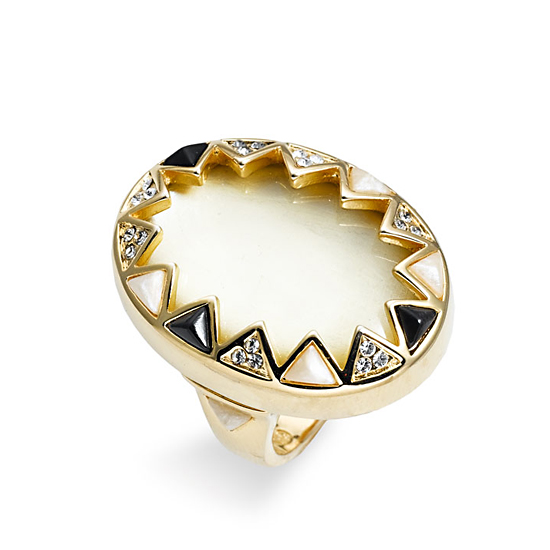 House of Harlow 1960 Enamel & Crystal Sunburst Ring, $75