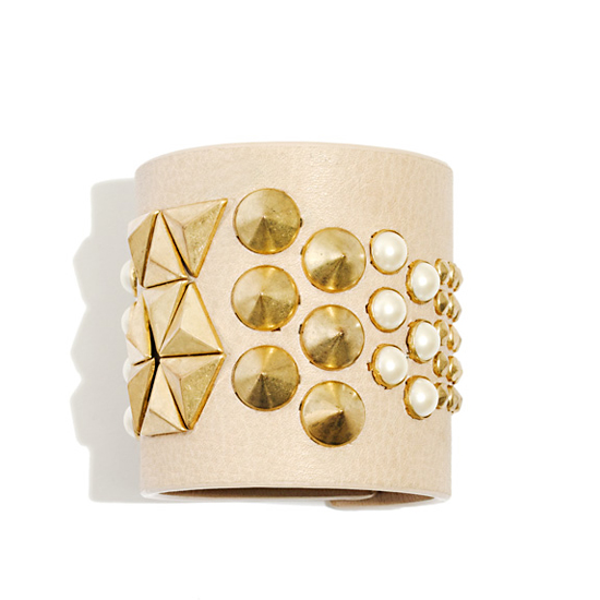 Wide Cone and Pearl Cuff, $135