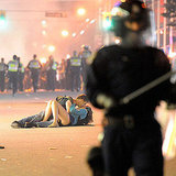 Couple Kissing at Vancouver Riots