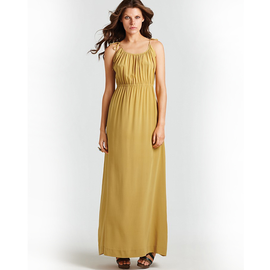 >> Accentuate the warm hue with caramel-toned leather and golden earrings. Theory Tylie Maxi Dress with Ties , $375 Looks chic with: