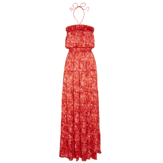 >> Let the cheery hue of this dress shine by pairing it with understated accessories. A straw bag, flat metallic sandals and simple gold jewelry hit the perfect note between dressy and casual.   T-Bags Printed Satin Halterneck Maxi Dress, $215 Looks chic with: