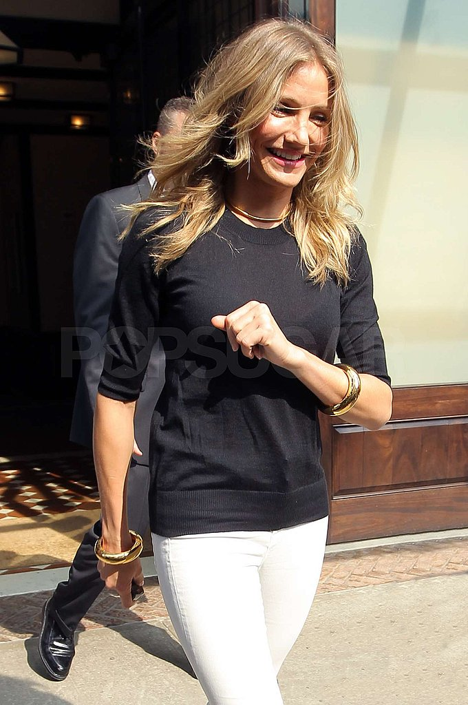 Cameron Diaz smiled as she left the Greenwich Hotel.