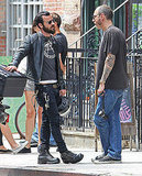 Justin Theroux and Terry Richardson talked outside in NYC.