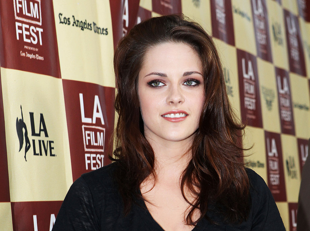 Kristen Stewart wore a black v-neck tee to the LA Film Festival.
