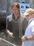Brad Pitt wore a Theory shirt on the Malta set of World War Z.
