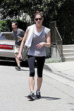 Ashley Greene toweled off after a challenging workout.