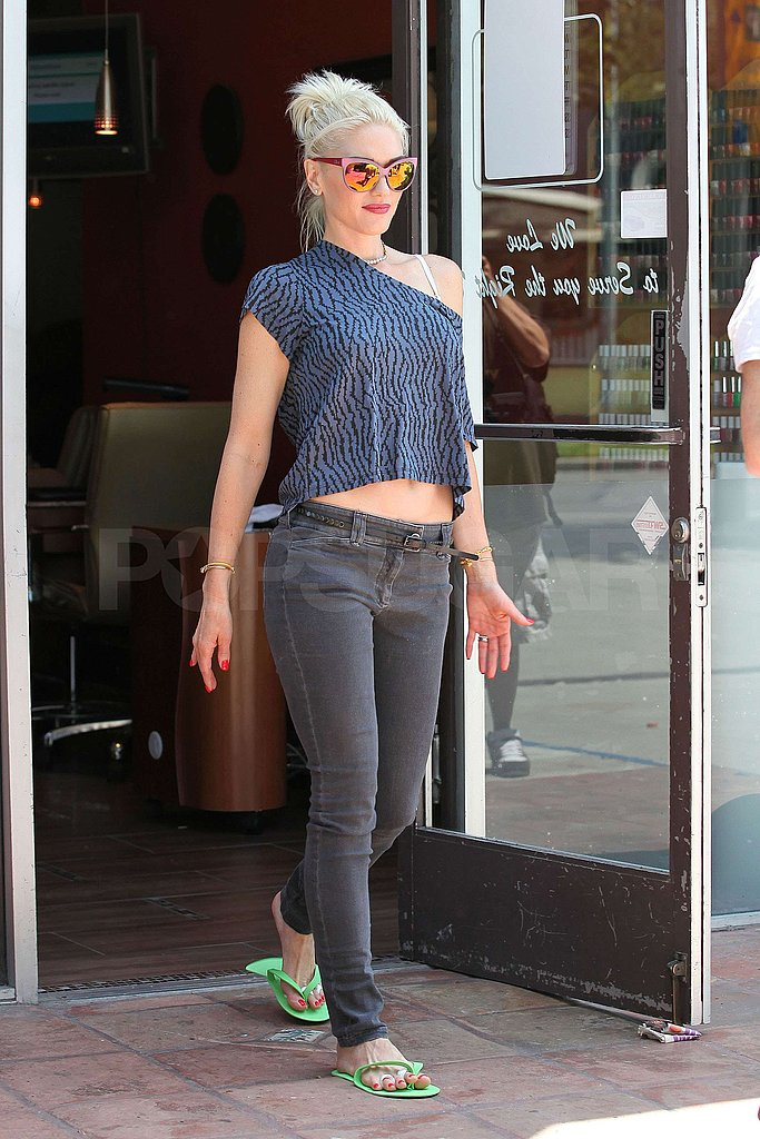 Gwen Stefani showed some skin during a visit to the nail salon.