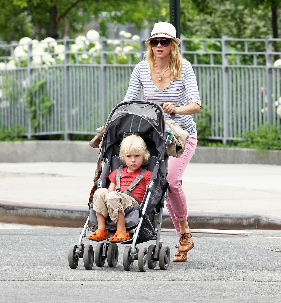 Naomi Watts walking in SoHo with son Sasha Schreiber.
