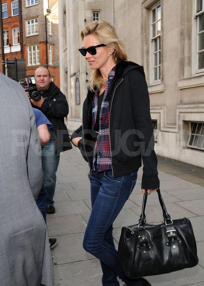 Kate Moss with a Kate Moss for Longchamp bag.
